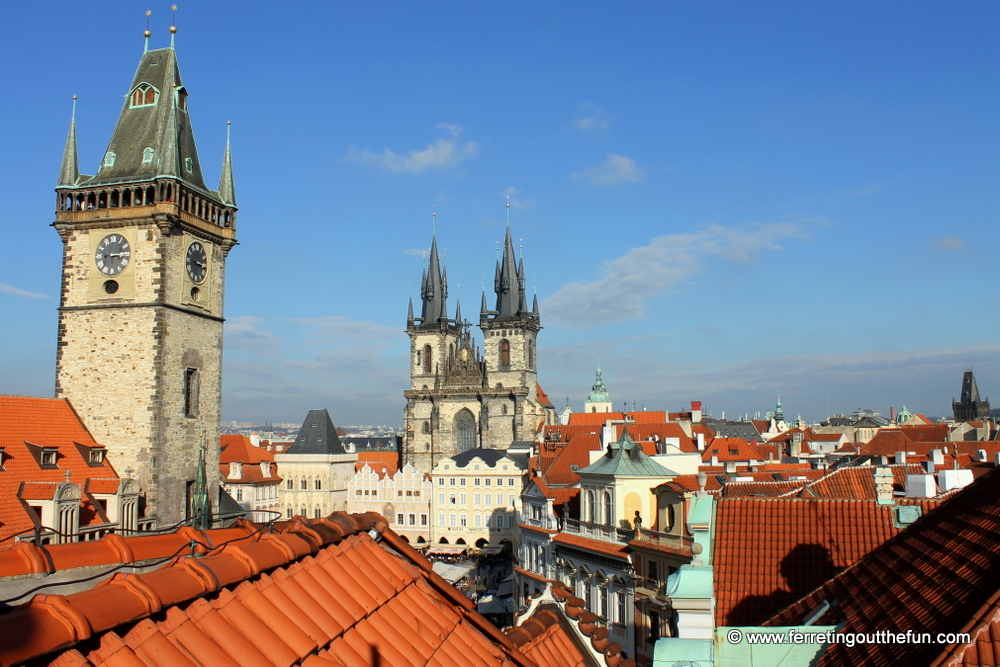 View of Old Town Square from the U Prince Hotel terrace.