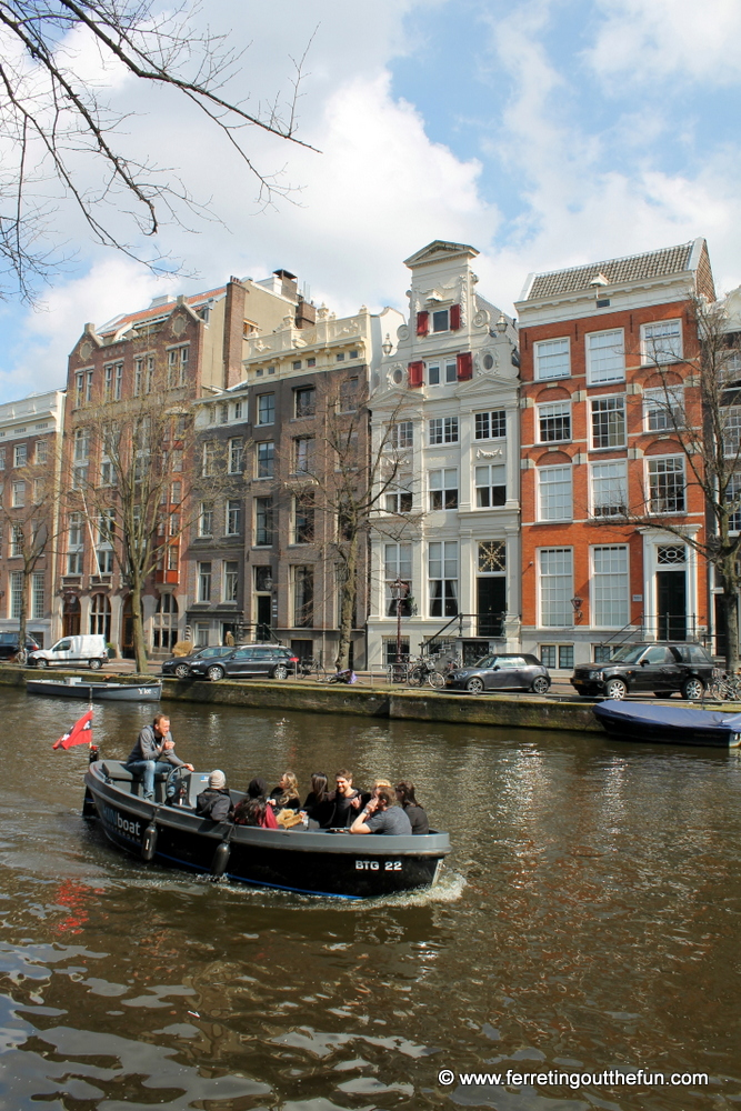 A canal boat ride in Amsterdam