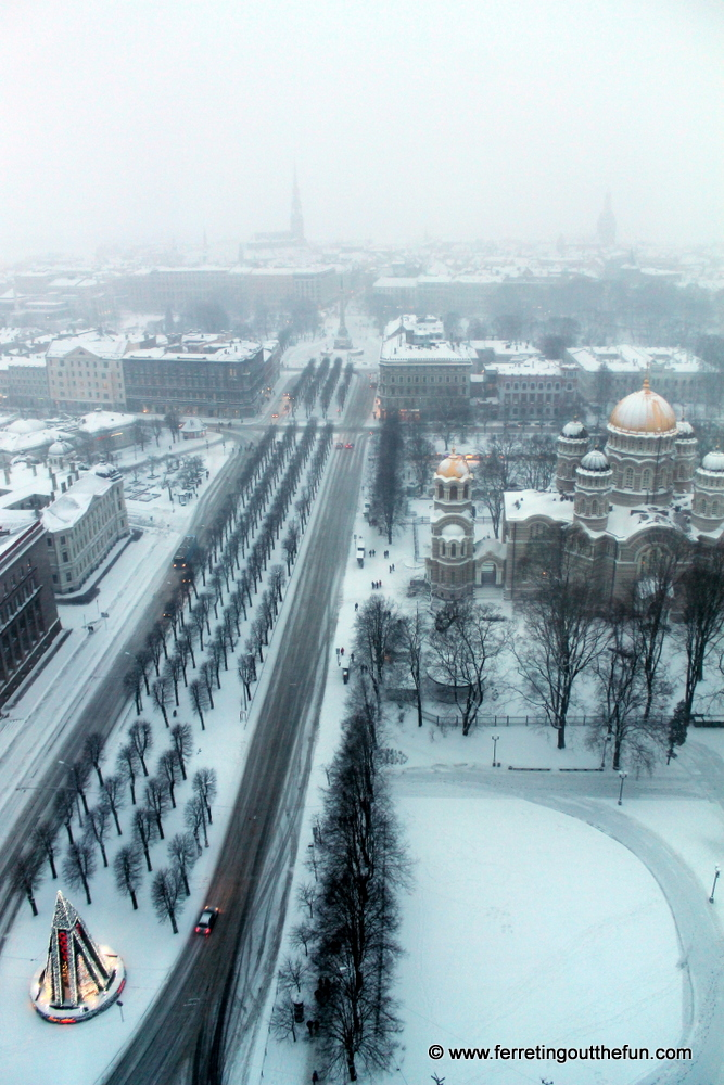 View of Riga, Latvia during a snowstorm
